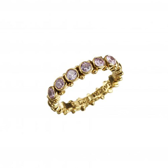 Pretty Gold Pink Zircon Ring