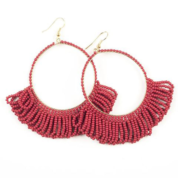Seed Bead Earring Hoop with Fringe, Red
