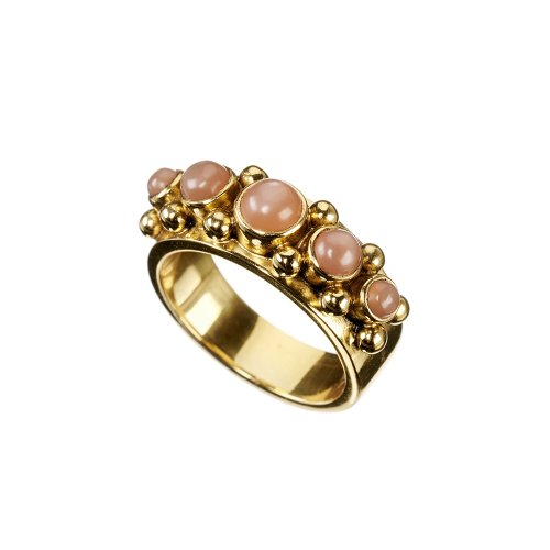 Five Peach Moonstone Ring