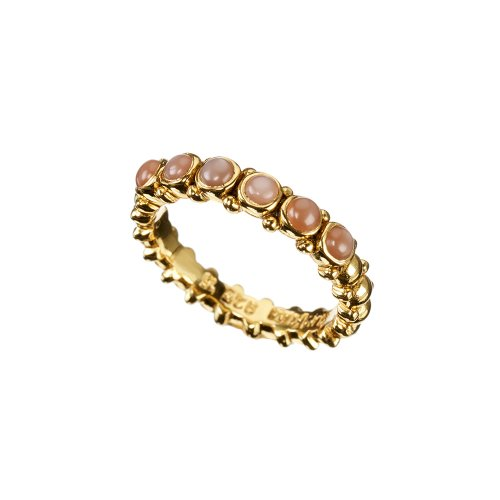 Pretty Gold Peach Moonstone Ring