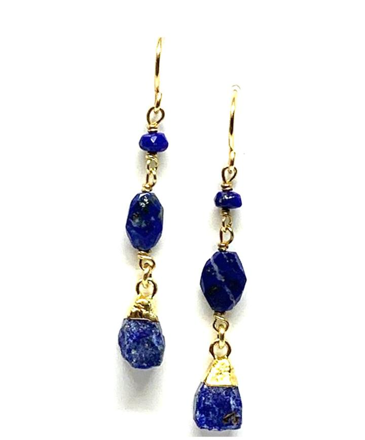 Rough Cut Lapis Chain Earrings