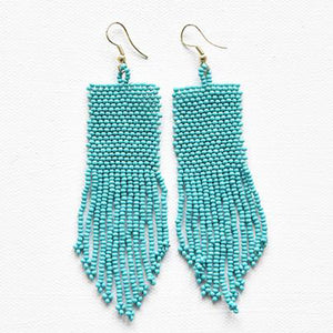 Turquoise Seed Bead Solid Earrings