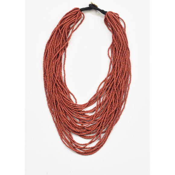 Terra Cotta Seed Bead Necklace