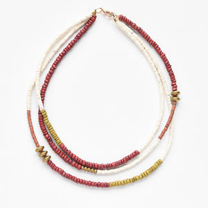 Terra Cotta, Mustard & White Triple Strand Necklace