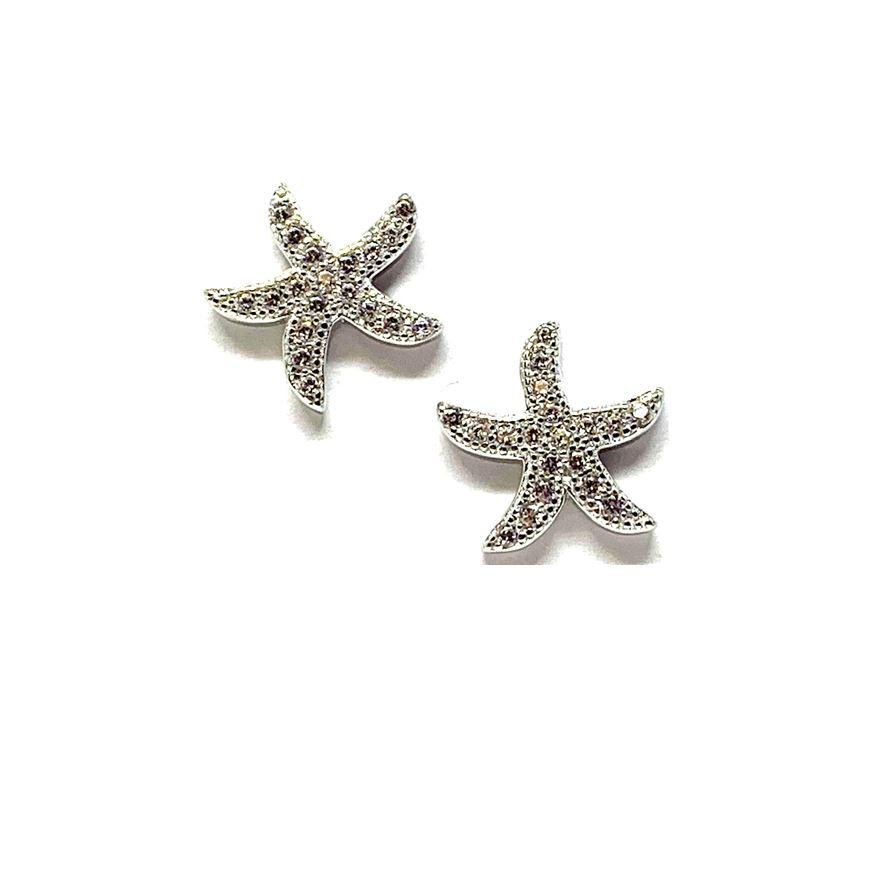 Pave Silver Starfish Post Earring