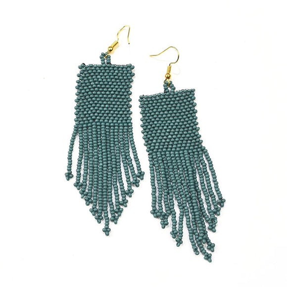 Teal Seed Bead Solid Earrings