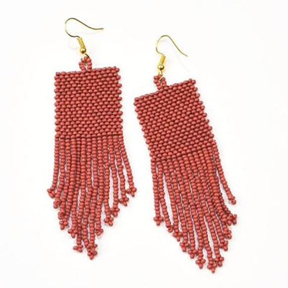 Terra Cotta Seed Bead Solid Earrings
