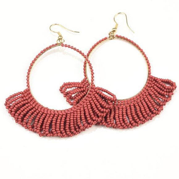 Seed Bead Earring Hoop with Fringe, Terra Cotta