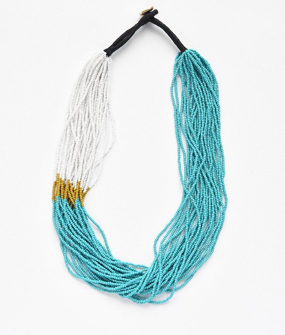 Turquoise, White & Mustard Seed Bead Color Block Necklace