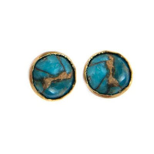 Turquoise and Copper Post Earrings
