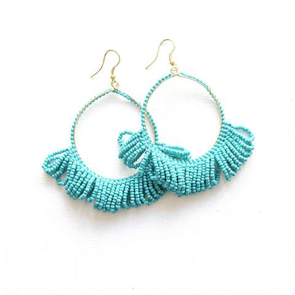 Seed Bead Earring Hoop with Fringe, Turquoise