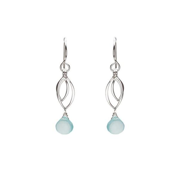 Ella Small Leaf Fringe Earrings with Aqua Chalcedony