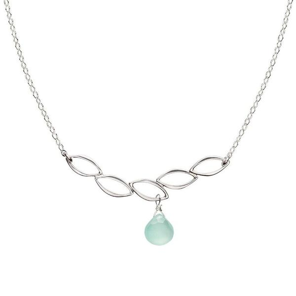 Ella Five Leaf Bar Necklace with Aqua Chalcedony