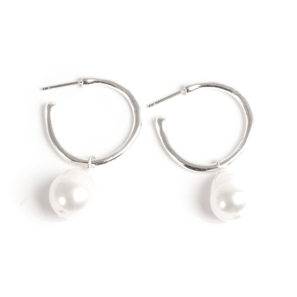 Freshwater Pearl Silver Hoop Earrings