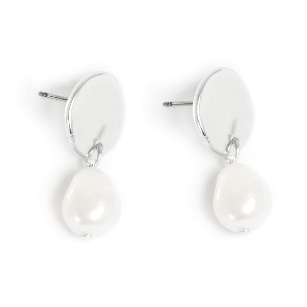 Freshwater Pearl Earrings with Silver Coin