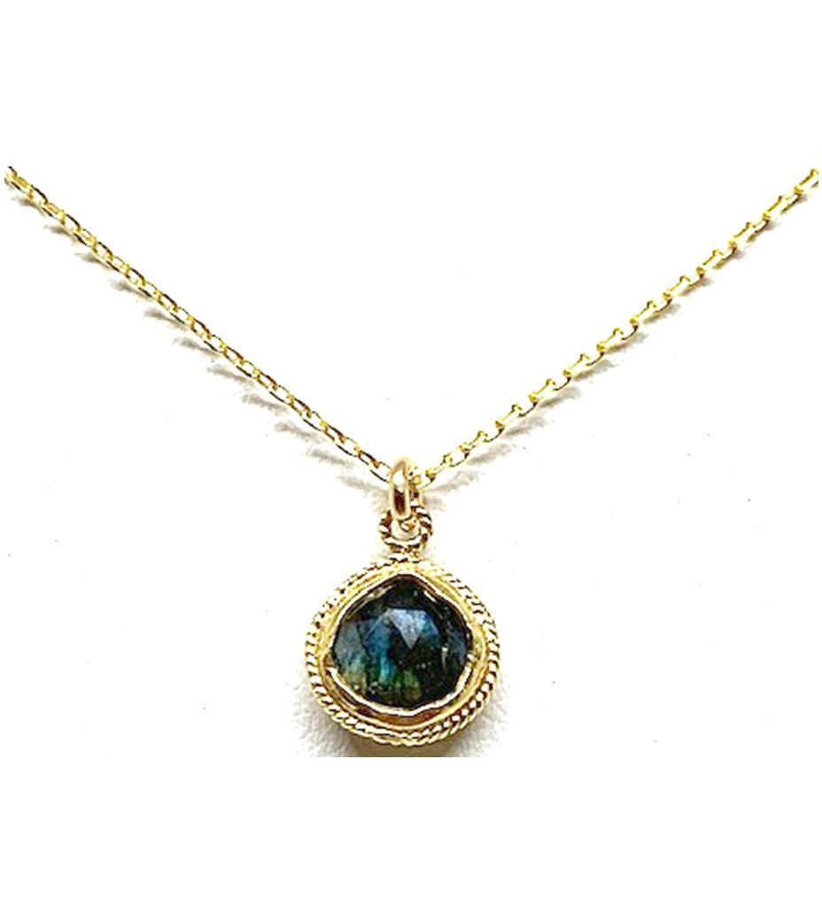 Bezel Labradorite Gold Necklace