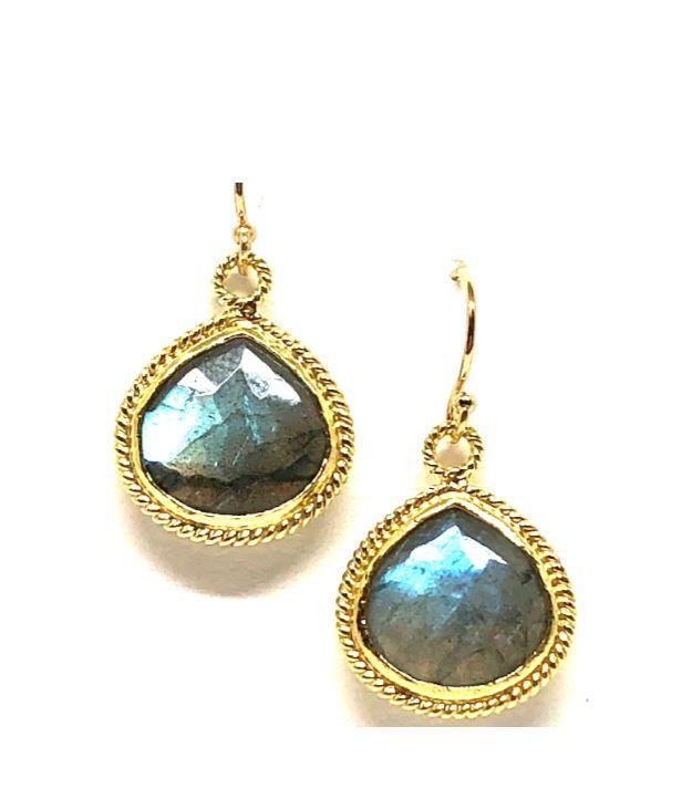 Bezel Stone Wire Wrap Labradorite Gold Earrings