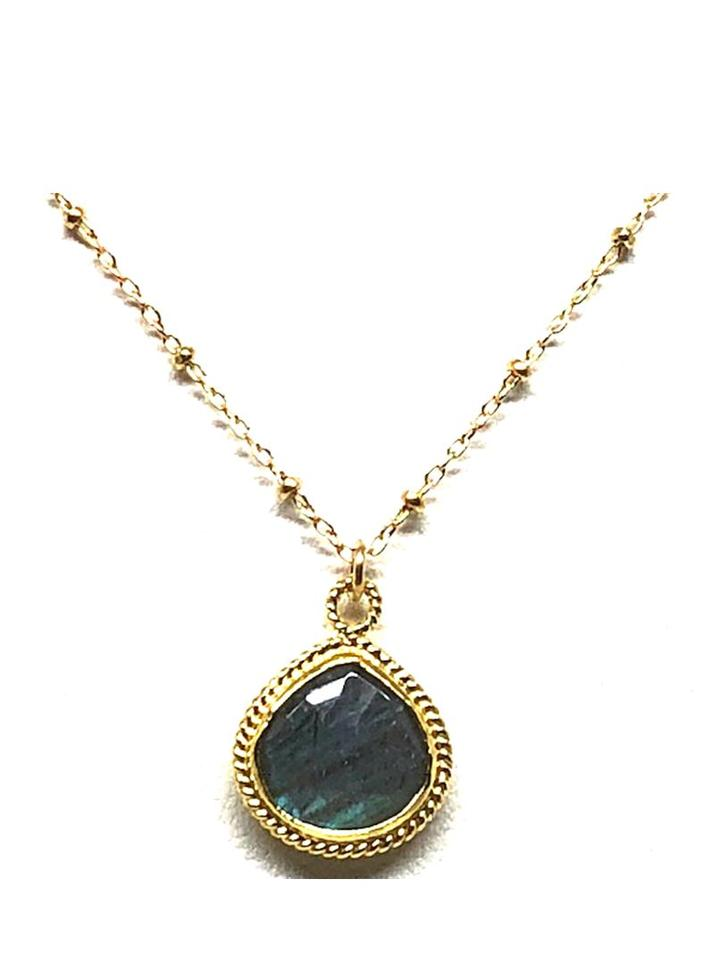 Bezel Stone Labradorite Gold Necklace