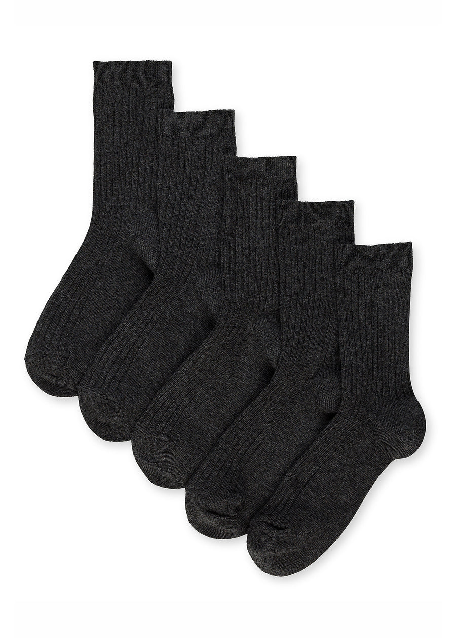 5 Pack of Ribbed School Socks