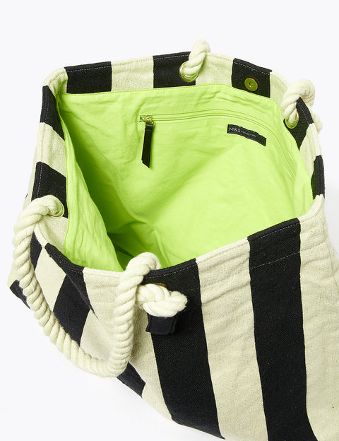 Cotton Striped Shopper Bag