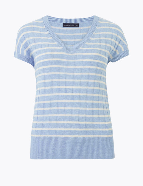 Linen Striped Ribbed V-Neck Knitted Top