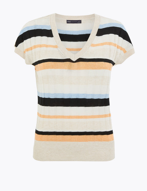 Striped V-Neck Top with Linen