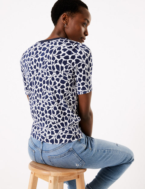 Crew Neck Fitted Short Sleeve Top