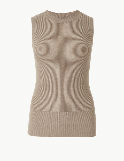 Ribbed Round Neck Knitted Top