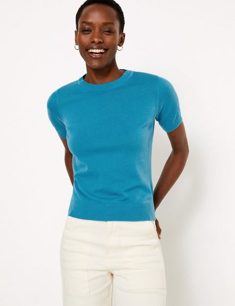 Pure Cotton Knitted Short Sleeve Top