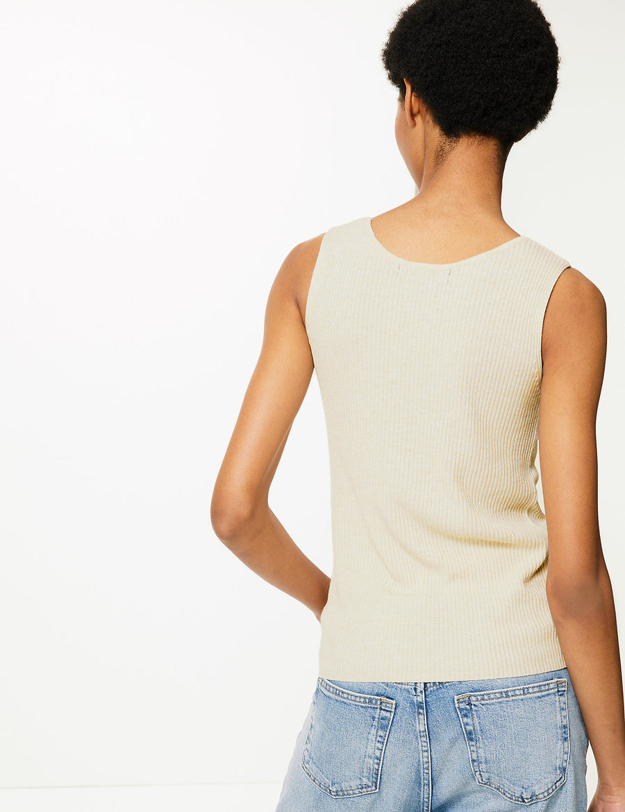Linen Blend Textured V-Neck Knitted Tops