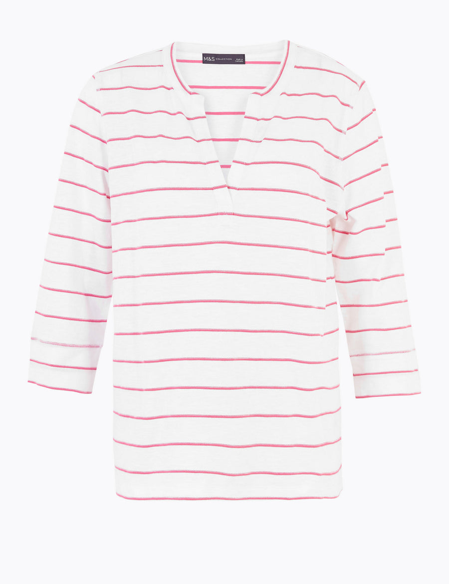 Pure Cotton Striped Long Sleeve Top