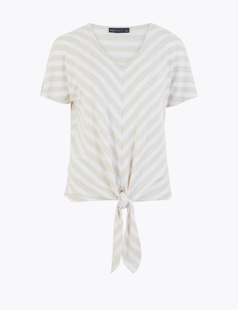Striped V-Neck Relaxed Short Sleeve Top