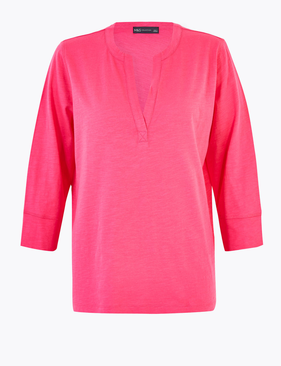 Pure Cotton V-Neck Long Sleeve Top