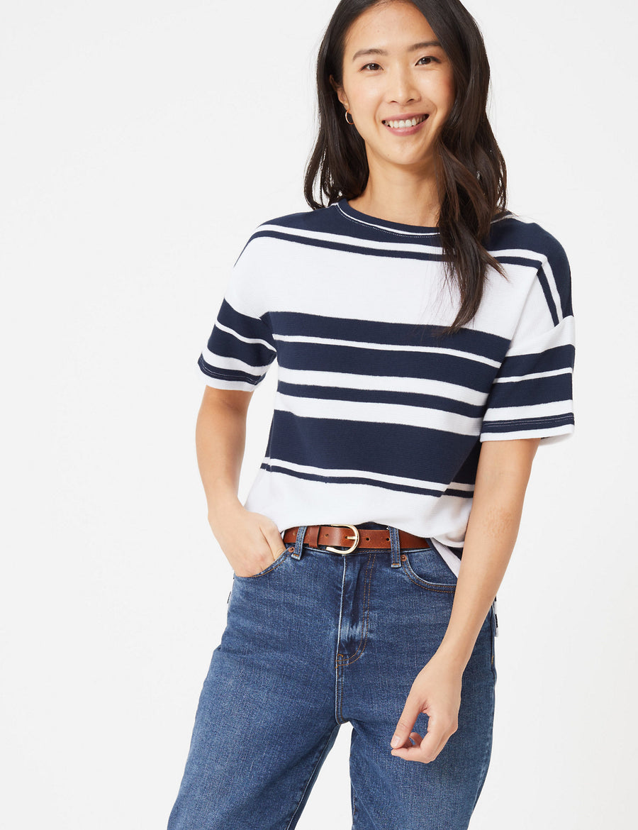 Pure Cotton Striped Straight Fit Top