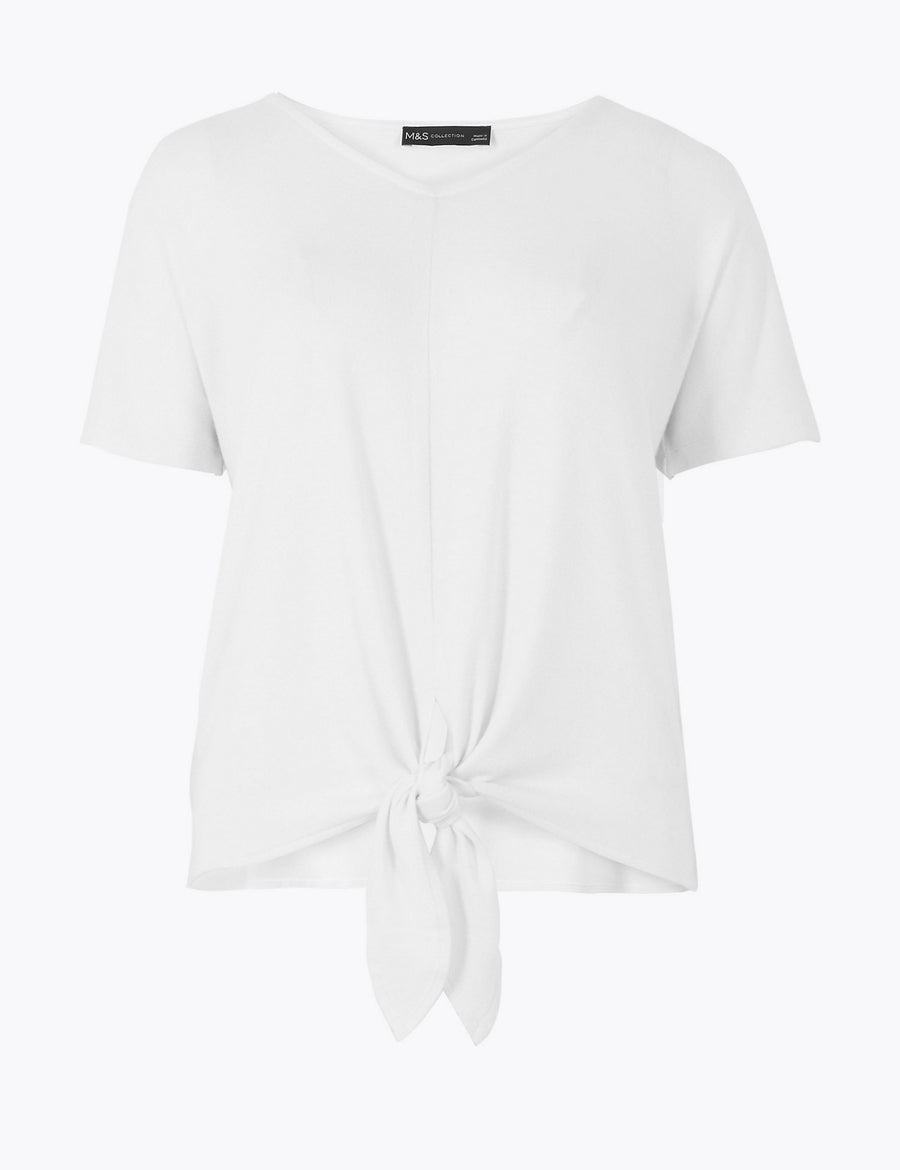 Touch V-Neck Relaxed Tie Hem Top
