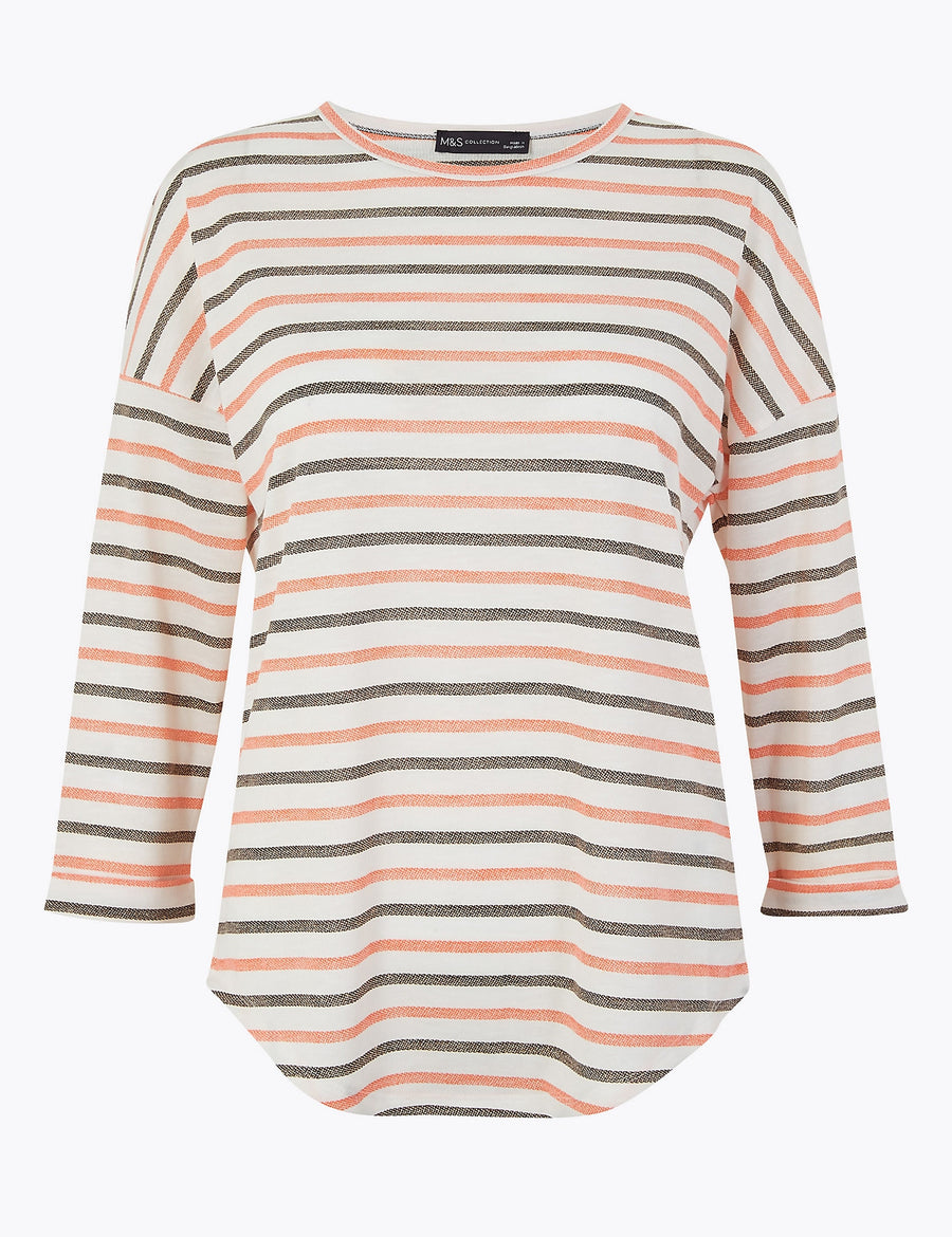 Striped Straight Fit Top with Linen