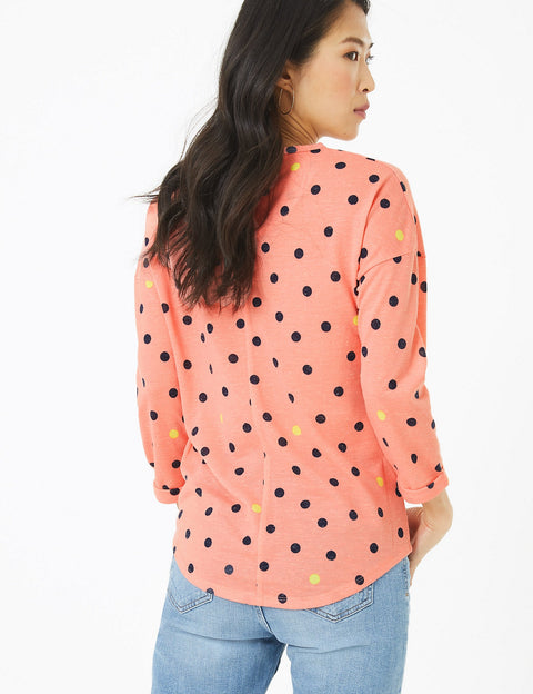 Polka Dot Straight Fit Long Sleeve Top