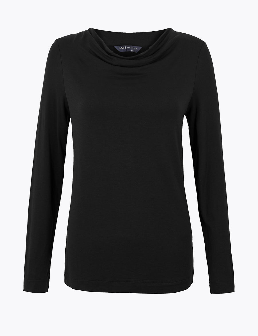 Cowl Neck Regular Fit Long Sleeve Top
