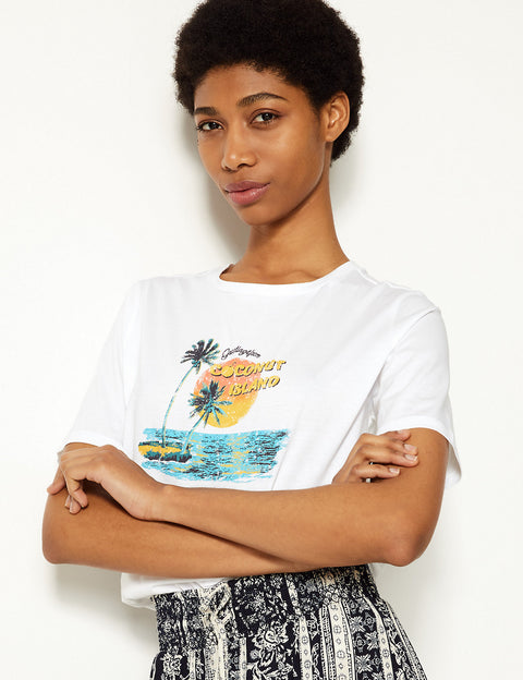 Pure Cotton Palm Slogan Straight Fit T-Shirt