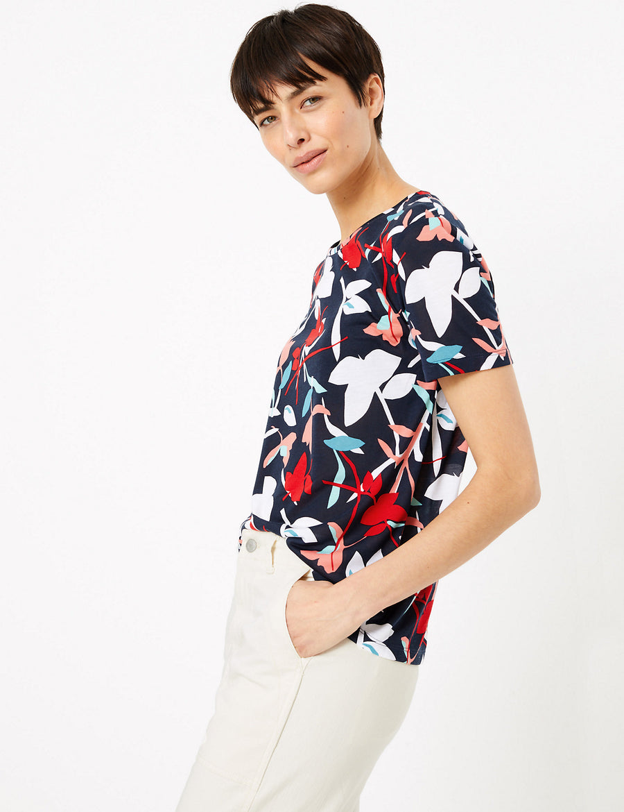 Floral Print Relaxed Fit T-Shirt