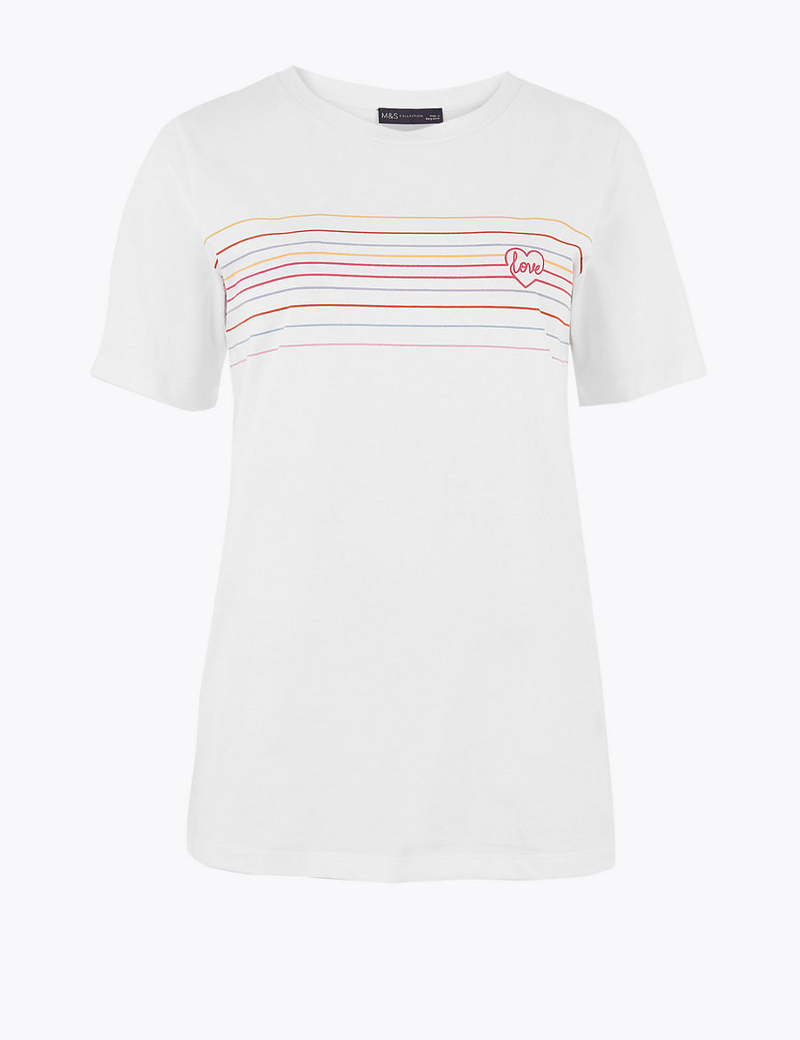 Pure Cotton Slogan Straight Fit T-Shirt