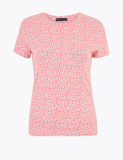 Cotton Floral Fitted T-Shirt