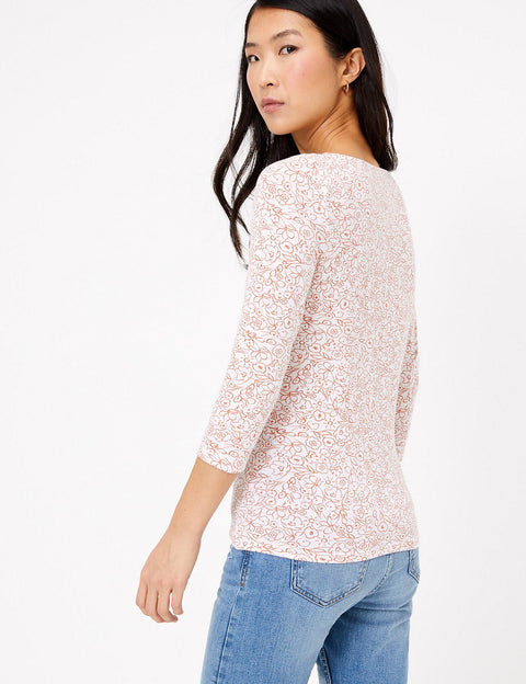 Cotton Rich Floral 3/4 Sleeve Fitted T-Shirt