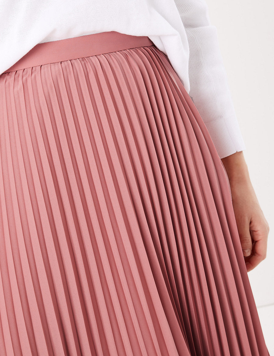 Pleated Circle Midi Skirt