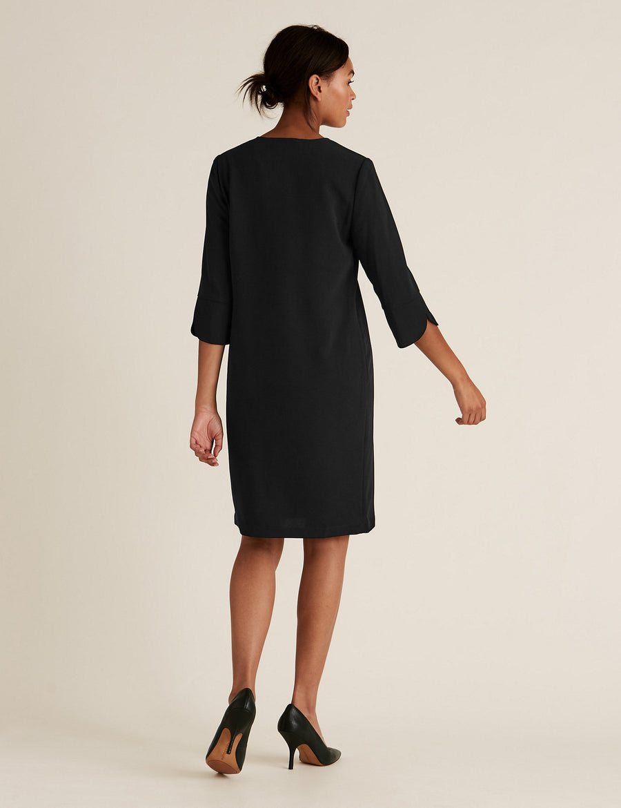 Crepe V-Neck Knee Length Shift Dress