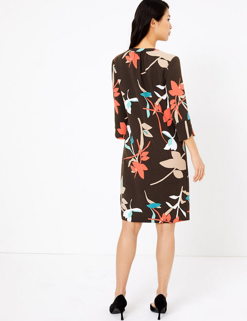 Crepe Floral Shift Dress