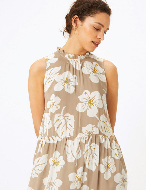 Floral High Neck Midi Relaxed Dress