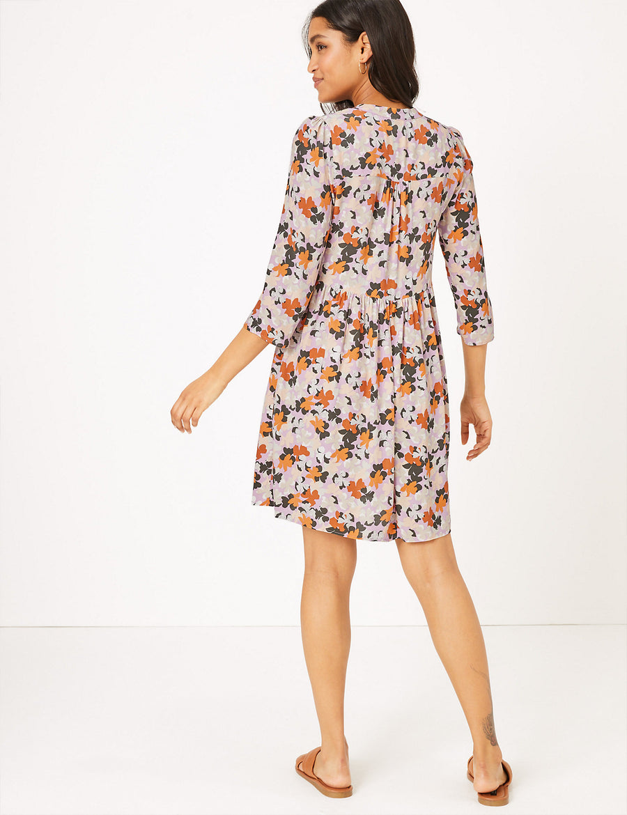 Floral V-Neck Mini Relaxed Dress