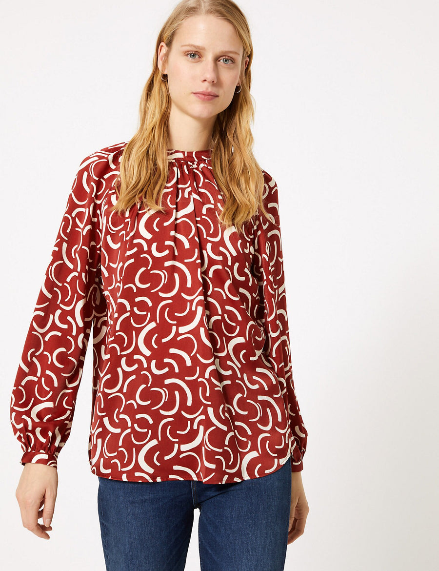 Satin Printed Blouse