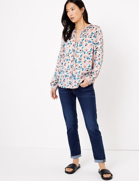 Floral Tie Neck Long Sleeve Blouse